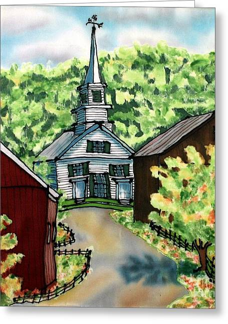 Waits River Church Greeting Card by Linda Marcille