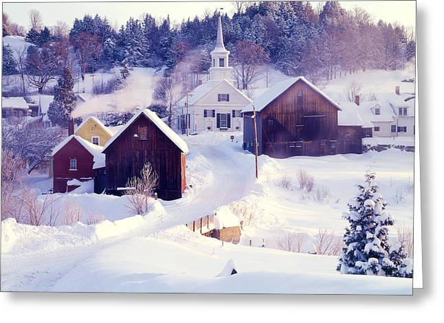 New England Village Greeting Cards - Waits River VT Greeting Card by George Robinson