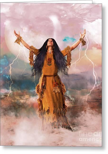 Spiritual Being Greeting Cards - Wakan Tanka The Great Spirit Greeting Card by Shanina Conway