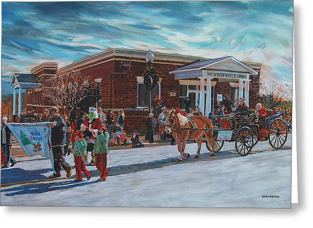 Wake Forest Christmas Parade Greeting Card by Tommy Midyette