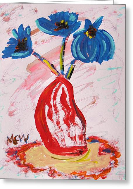 Vivid Colour Drawings Greeting Cards - Wake Up Flowers Greeting Card by Mary Carol Williams