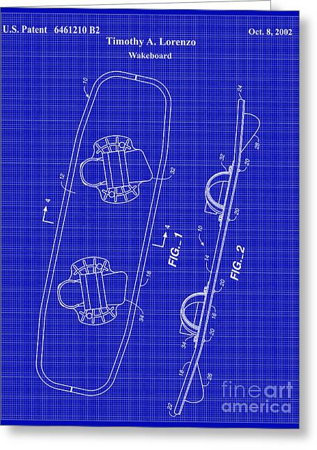 Water Sports Greeting Cards - Wakeboard Patent Blueprint Drawing Greeting Card by Jon Neidert