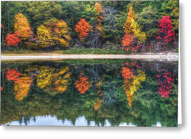 Walden Pond Fall Foliage Concord Ma Reflection Greeting Card by Toby McGuire