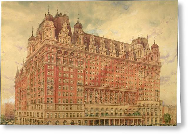 On Paper Paintings Greeting Cards - Waldorf Astoria Hotel Greeting Card by Hughson Frederick Hawley