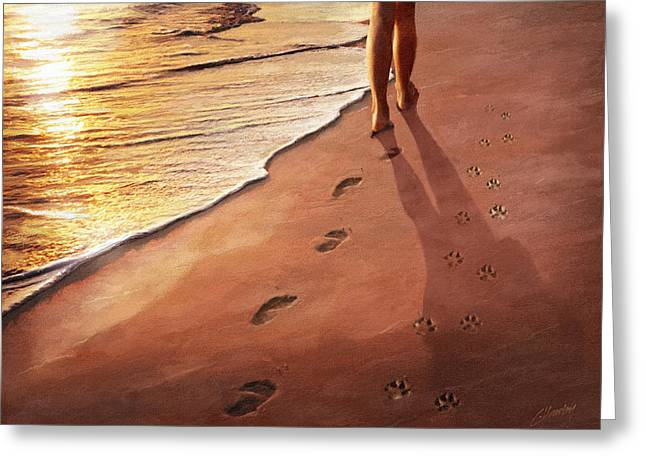 Dog Prints Paintings Greeting Cards - Walk Beside Me Greeting Card by Cliff Hawley