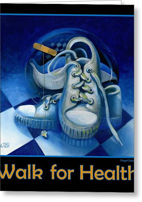 Sneakers Paintings Greeting Cards - Walk for Health Poster Greeting Card by Roger Calle