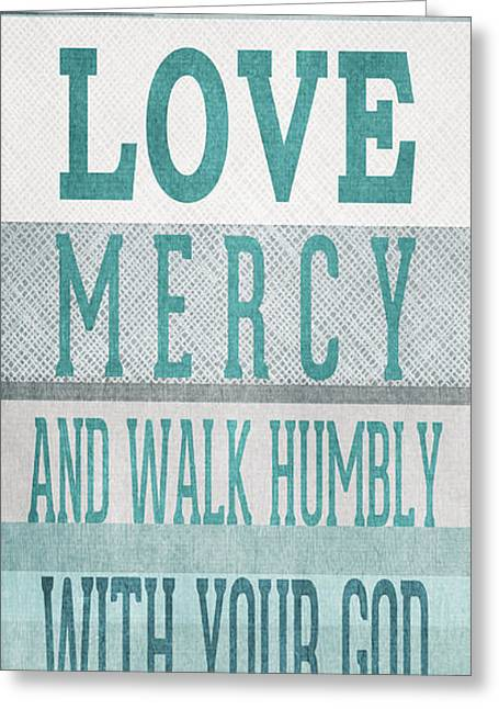 Scripture Mixed Media Greeting Cards - Walk Humbly- Tall version Greeting Card by Linda Woods