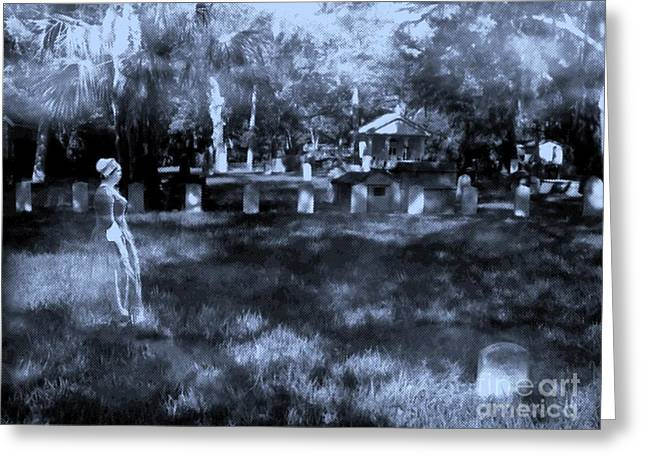 Creepy Digital Greeting Cards - Walk In The Cemetery Greeting Card by D Hackett