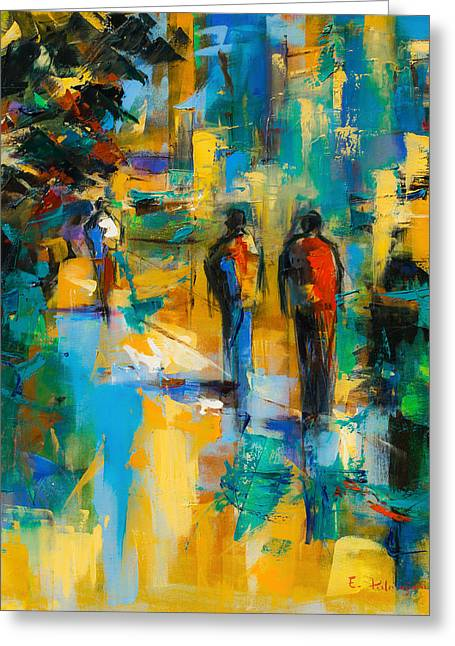 In-city Paintings Greeting Cards - Walk in the City Greeting Card by Elise Palmigiani
