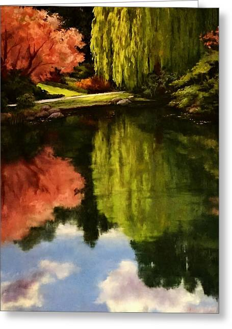 Willow Lake Pastels Greeting Cards - Walk in the Gardens Greeting Card by Candice Ferguson