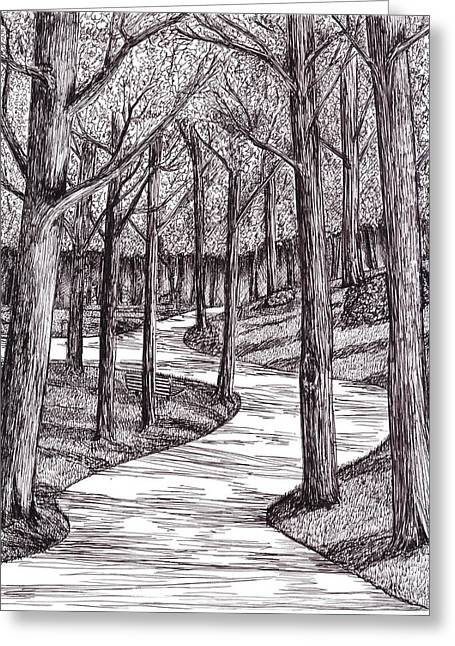 Park Benches Drawings Greeting Cards - Walk In The Park Greeting Card by Bryan Redfearn