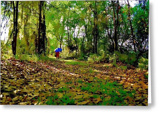 Survivor Art Greeting Cards - Walk in the Park Greeting Card by Tracy Solomon