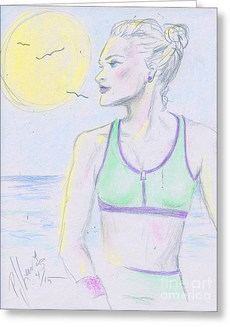Blonde On Blonde Greeting Cards - Walk In The Sun Greeting Card by P J Lewis