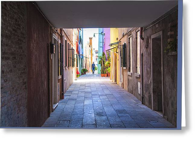 Person Greeting Cards - Walk into Vivid Color Burano Italy Greeting Card by Denise Rafkind