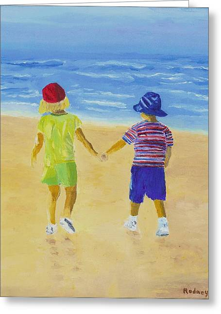 Greeting Card featuring the painting Walk On The Beach by Rodney Campbell