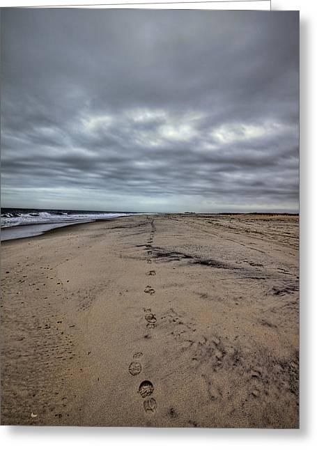 York Beach Greeting Cards - Walk the Line Greeting Card by Evelina Kremsdorf
