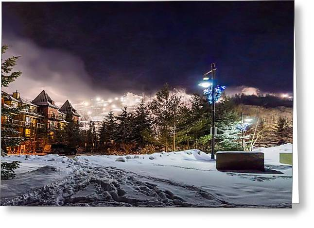 Snowy Evening Greeting Cards - Walk to the ski hills Greeting Card by Jeff S PhotoArt