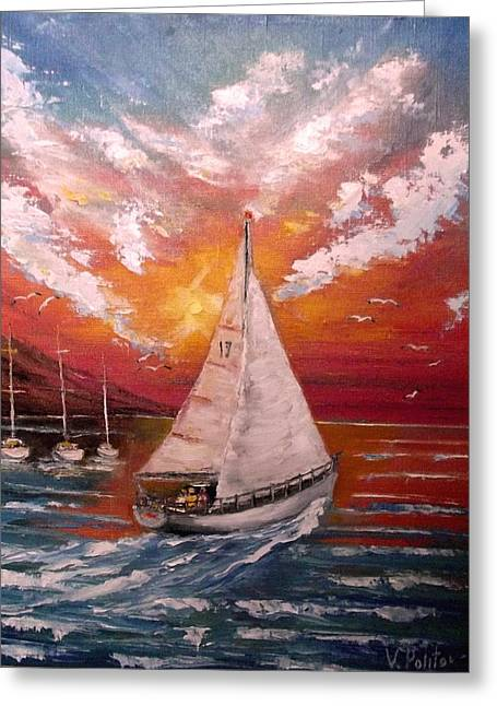 Boats Reflecting In Water Greeting Cards - Walk under sail Greeting Card by Politov Valeryi