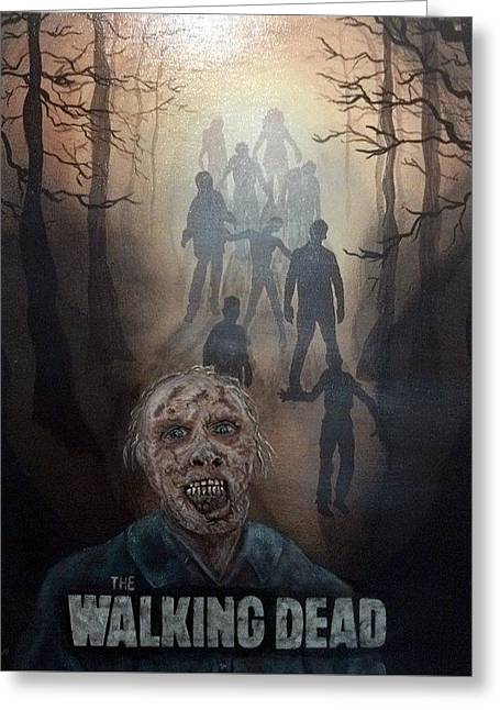 Rick Grimes Greeting Cards - Walkers Greeting Card by Tina Colbourne