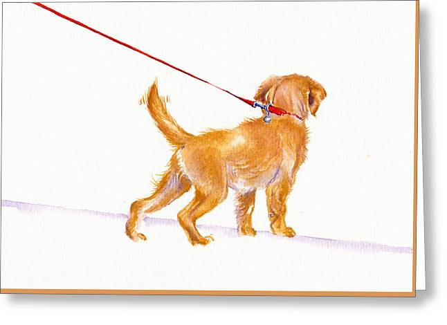 Puppies Paintings Greeting Cards - Walkies Greeting Card by Debra Hall
