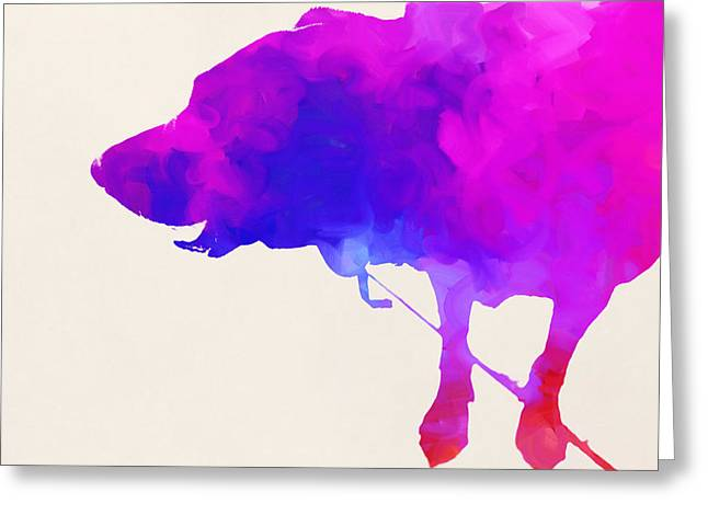 Dogs Digital Greeting Cards - Walkies Greeting Card by Robert Johansson