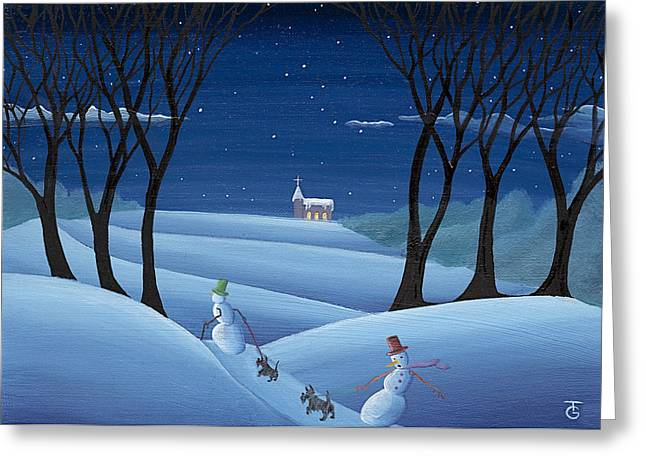 Christmas Art Greeting Cards - Walkin the Dogs Greeting Card by Thomas Griffin