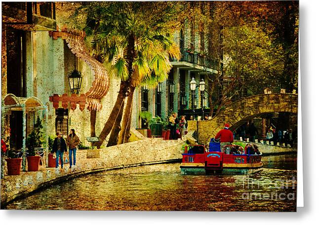 Walking Along The Riverwalk Greeting Card by Iris Greenwell