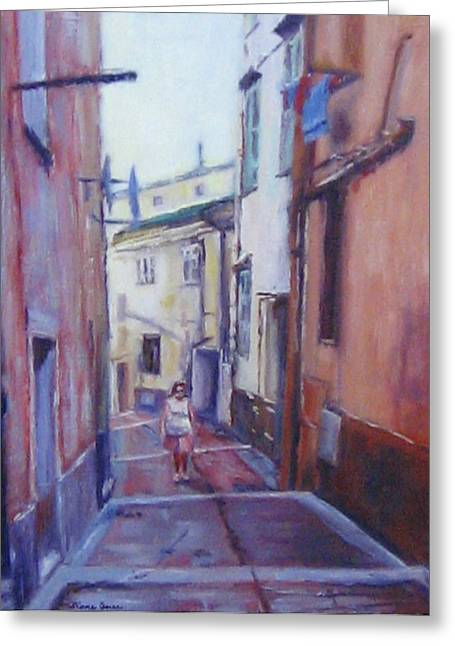 Menton Greeting Cards - Walking Around Menton France Greeting Card by Diane Quee
