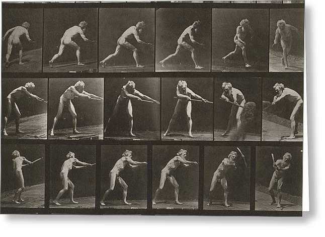 Walking, Ascending, Throwing Greeting Card by Eadweard Muybridge
