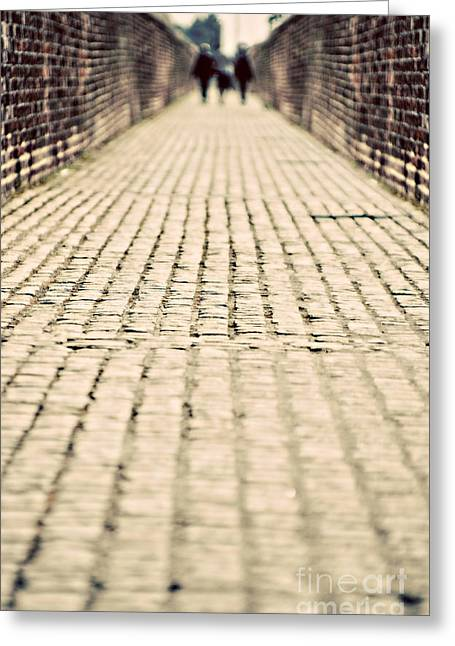 Cobbled Greeting Cards - Walking Away Greeting Card by Meirion Matthias