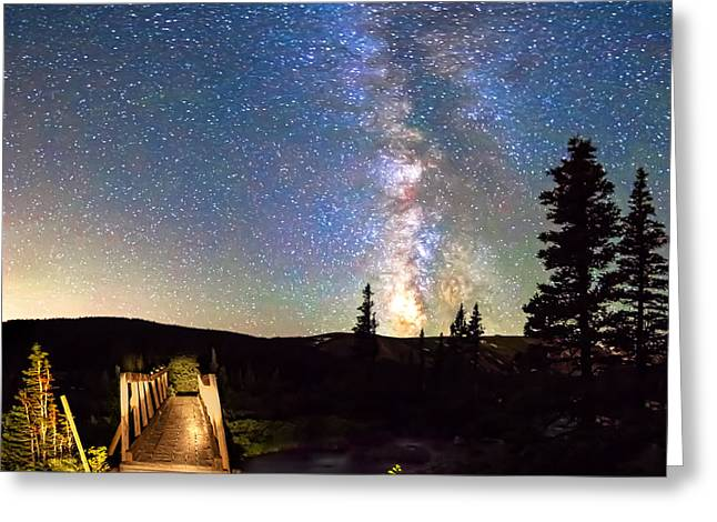 Indian Peaks Greeting Cards - Walking Bridge to The Milky Way Greeting Card by James BO  Insogna