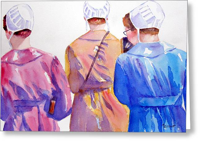 Amish Paintings Greeting Cards - Walking By Faith Greeting Card by Marsha Elliott
