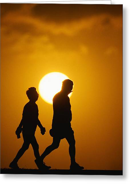 Enjoying Greeting Cards - Walking Couple Greeting Card by Bob Abraham - Printscapes