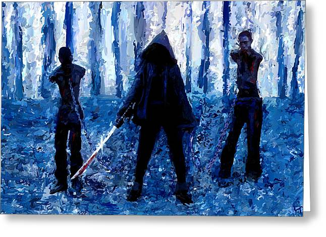 Artwork Mixed Media Greeting Cards - Walking Dead Michonne Art Painting Signed Prints available at laartwork.com Coupon Code KODAK Greeting Card by Leon Jimenez