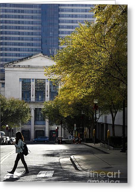 Walking Downtown Greeting Card by Marina McLain