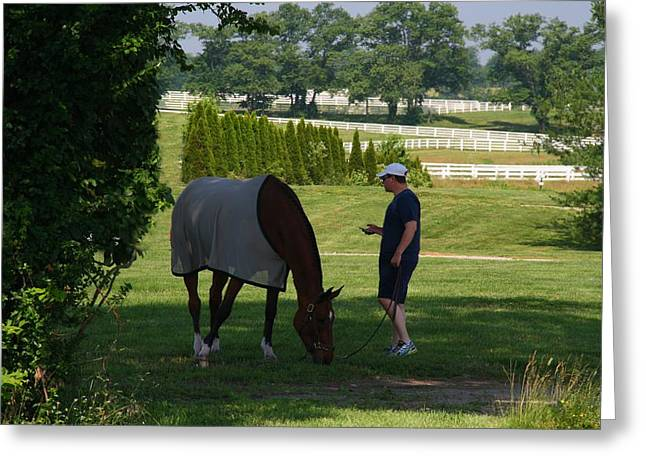 Kentucky Horse Park Photographs Greeting Cards - Walking His Horse Greeting Card by Kathryn Meyer