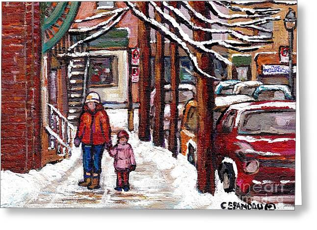Street Scenes Paintings Greeting Cards - Walking Home From Rue Wellington Shops Mom And Little Girl Montreal  Verdun Winter Scene Painting  Greeting Card by Carole Spandau