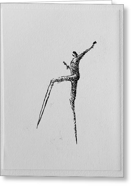 Printmaking Greeting Cards - Walking II Greeting Card by Valdas Misevicius