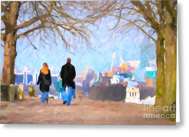 Dogs Digital Greeting Cards - Walking in Greenwich Park Greeting Card by Chris Armytage