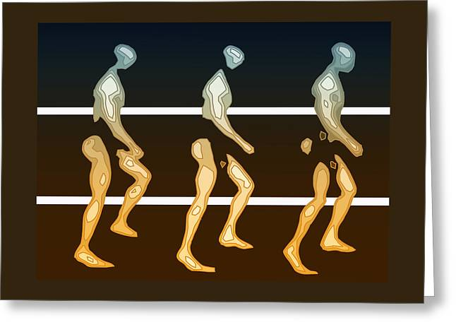 Recently Sold -  - Abstract Digital Drawings Greeting Cards - Walking In Line Greeting Card by Joaquin Abella