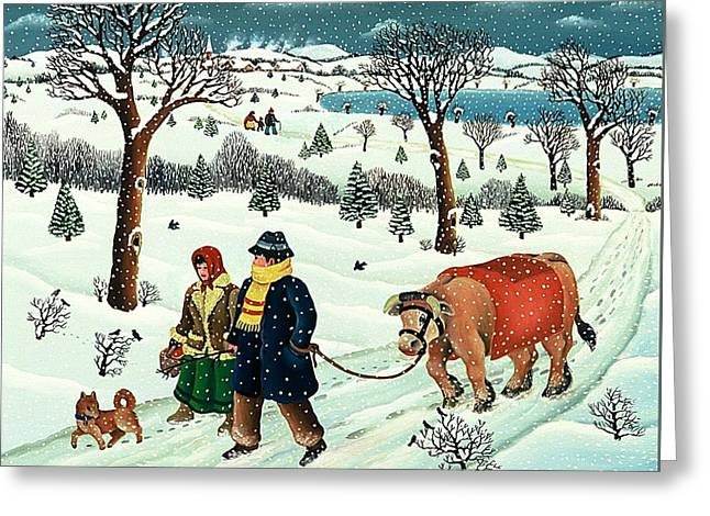 Dog In Snow Greeting Cards - Walking in Snow with Ox and Dog Greeting Card by Branko Paradis