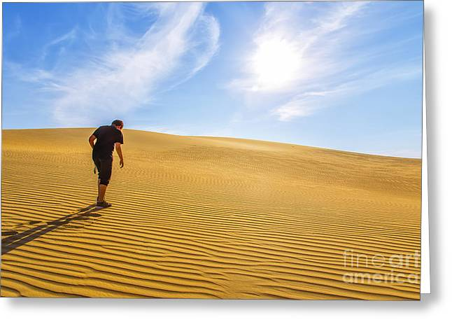Sahara Greeting Cards - Walking In The Desert Greeting Card by Omar Dakhane