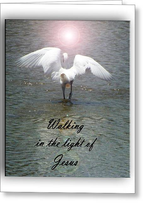 Bible Greeting Cards - Walking In The Light Of Jesus Greeting Card by Leticia Latocki