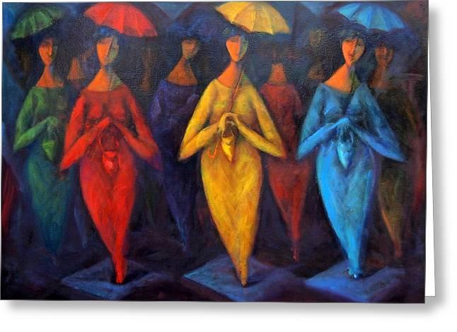 Walking In The Rain Greeting Card by Marina R Burch