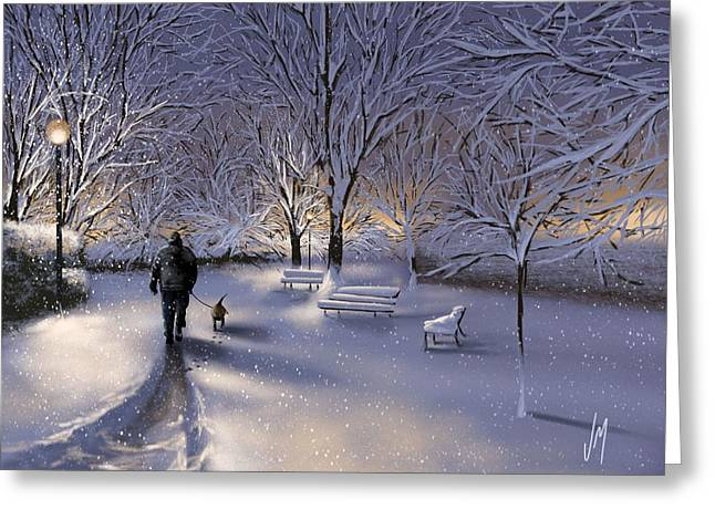 Walking In The Snow Greeting Card by Veronica Minozzi