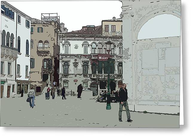 Walking In Venice Greeting Card by Mindy Newman