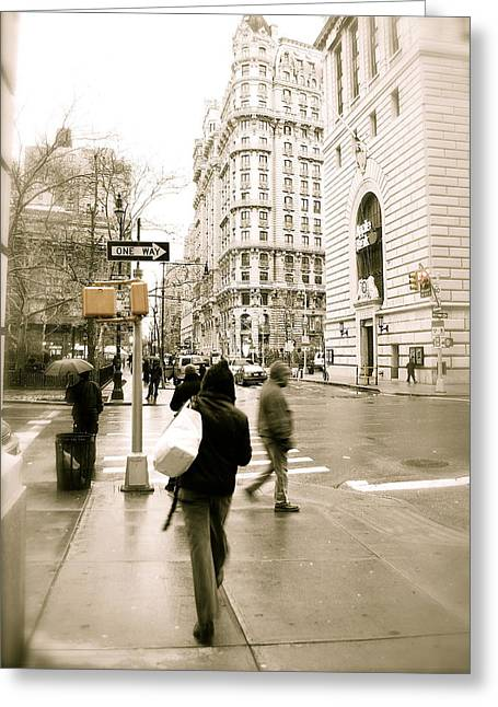 Walking New York Greeting Card by Michael Peychich
