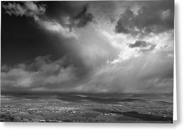 Field. Cloud Greeting Cards - Walking North Greeting Card by Paul Davenport