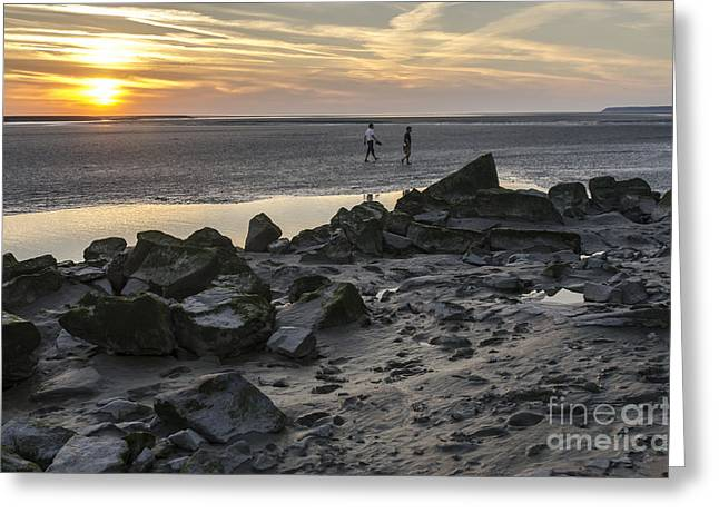 People Greeting Cards - Walking on Mont Saint-Michel Bay at Sunset Greeting Card by Ning Mosberger-Tang