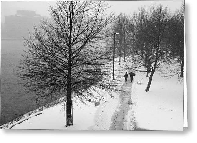 Walking On The Charles River Boston Ma Greeting Card by Toby McGuire
